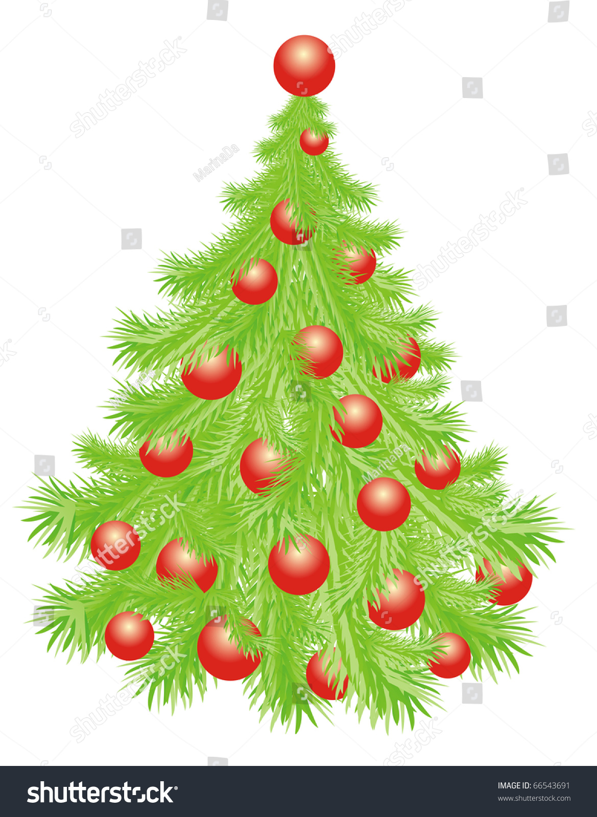 Christmas tree whit red balls isolated on a white stock