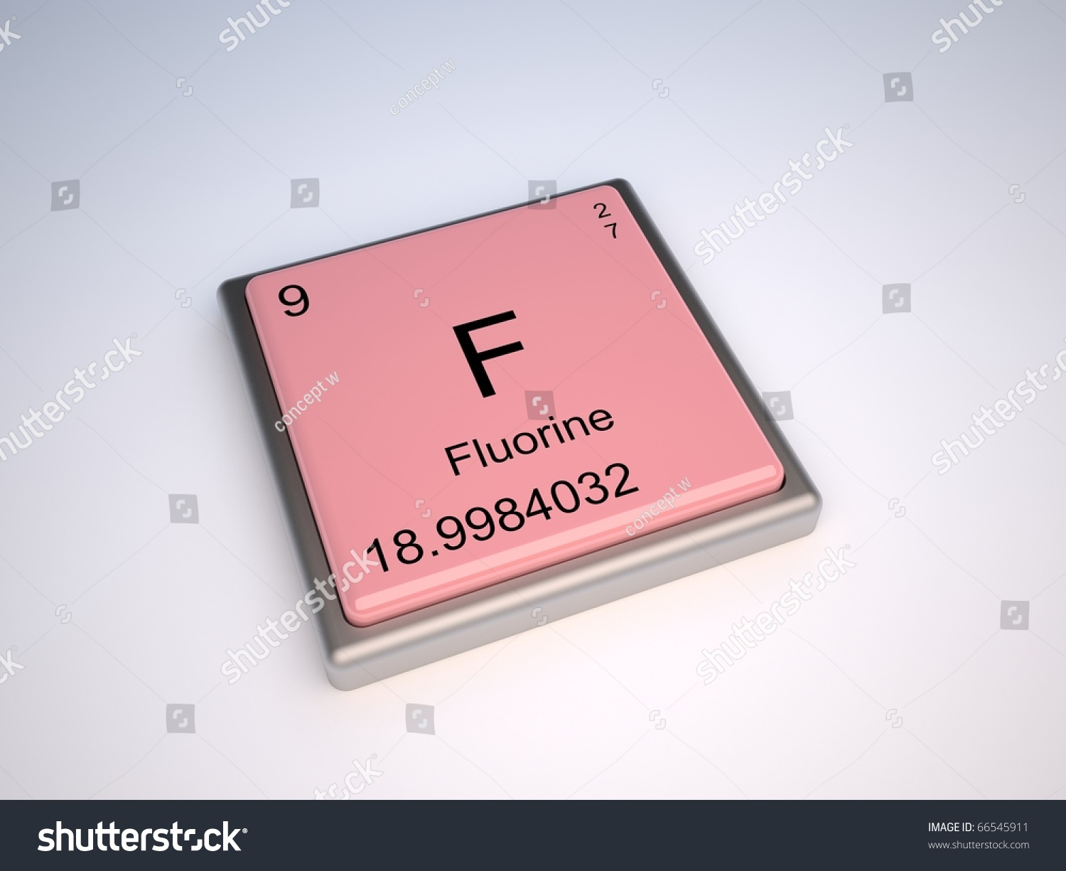 Fluorine Chemical Element Periodic Table Symbol Stock Illustration