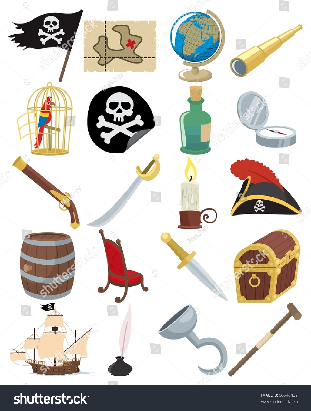 Collection 20 Cartoon Pirate Accessories Stock Vector