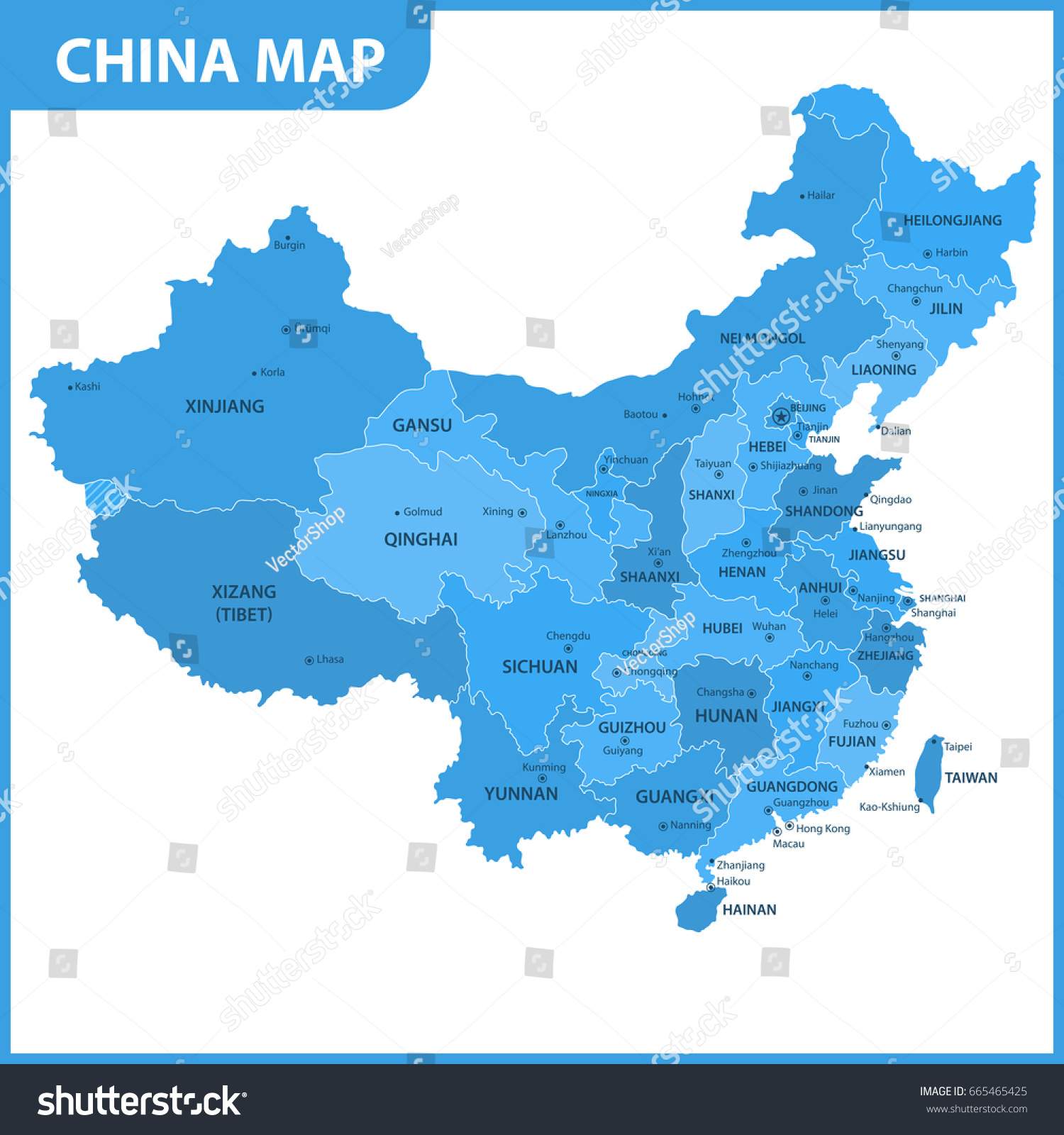 Detailed Map China Regions States Cities Stock Vector - China map states cities map