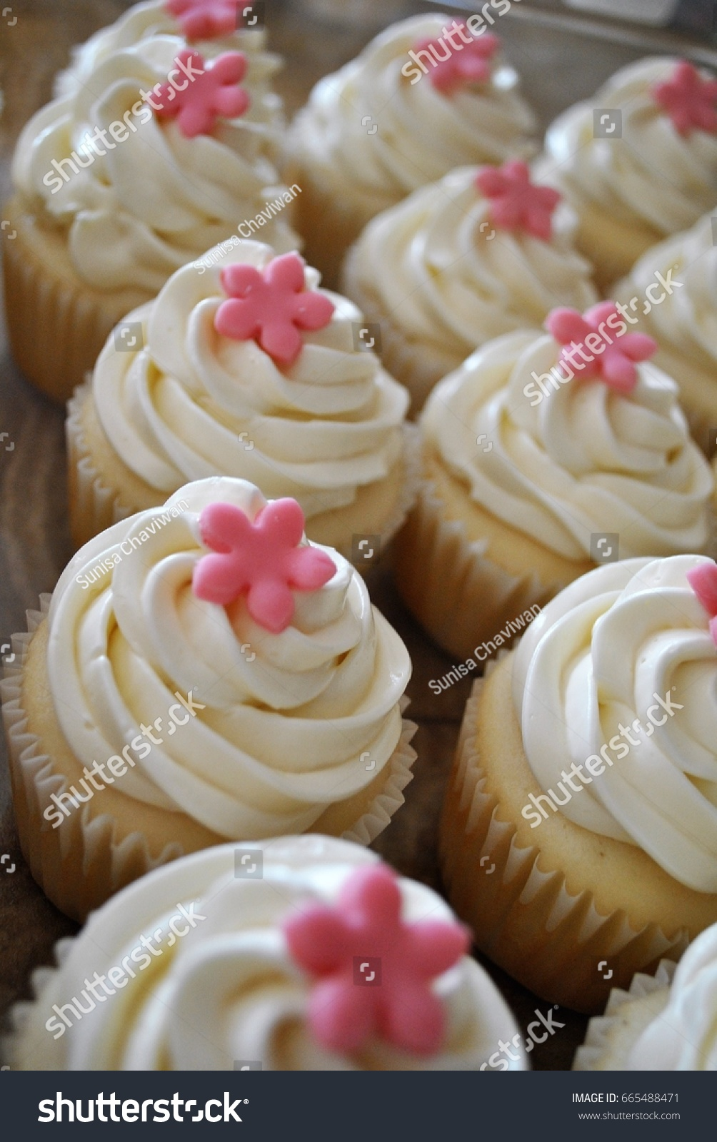 Cupcake White Buttercream Pink Fondant Flowers Stock Photo Edit Now