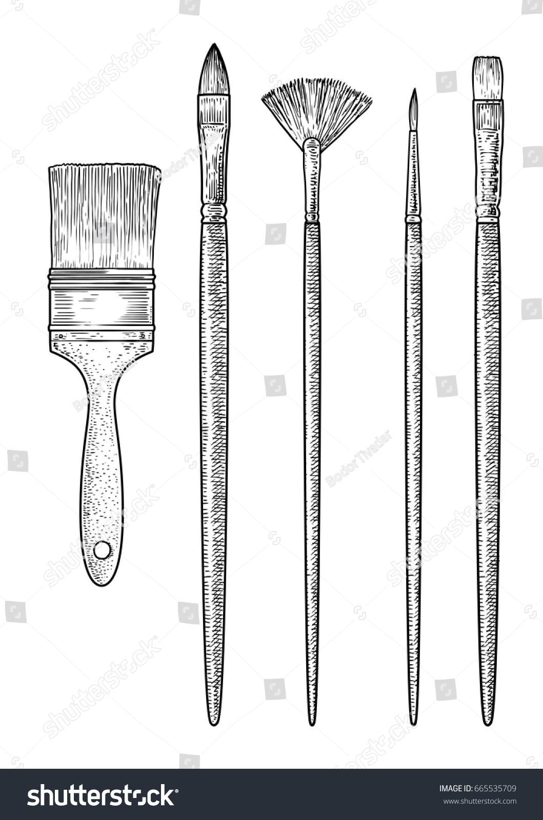 Drawing Straight Lines With Brush In Photo : Brush collection illustration drawing engraving ink stock