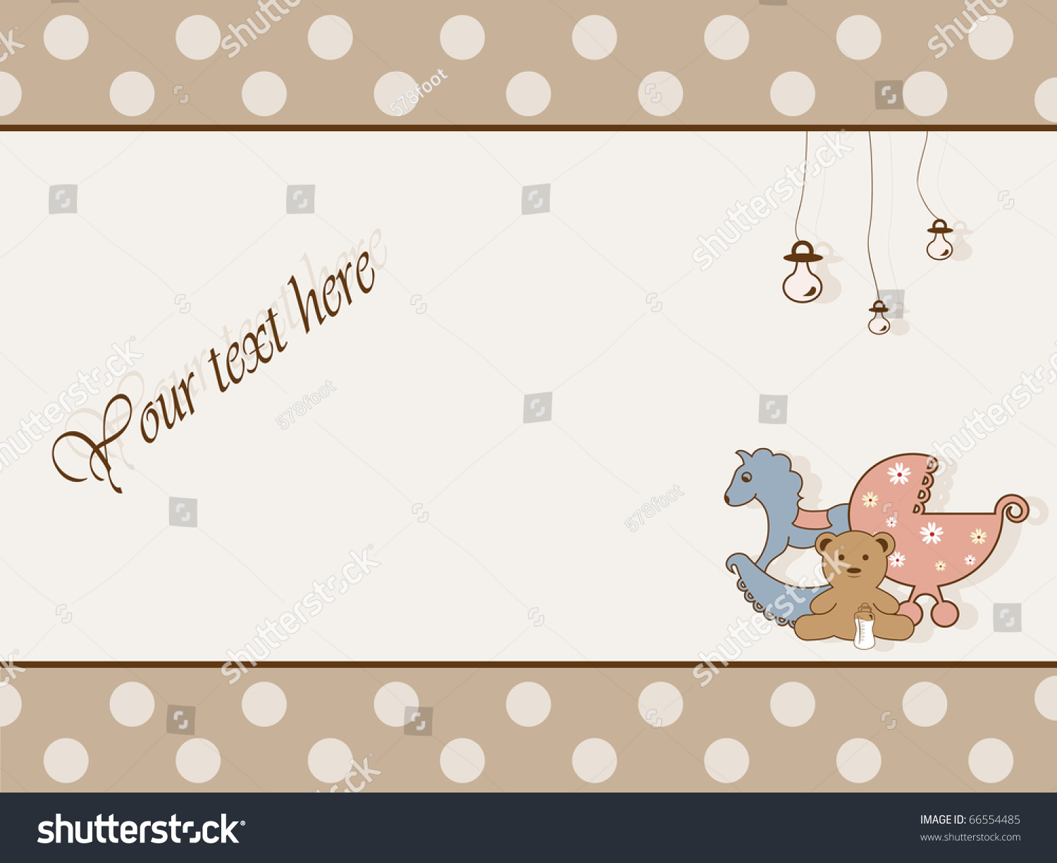 Retro Greeting Card Baby Shower Stock Illustration 66554485