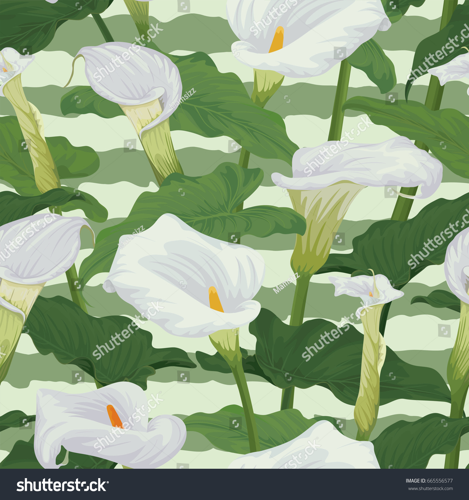 Seamless Pattern Calla Lily Flowers Leaves Stock Vector Royalty