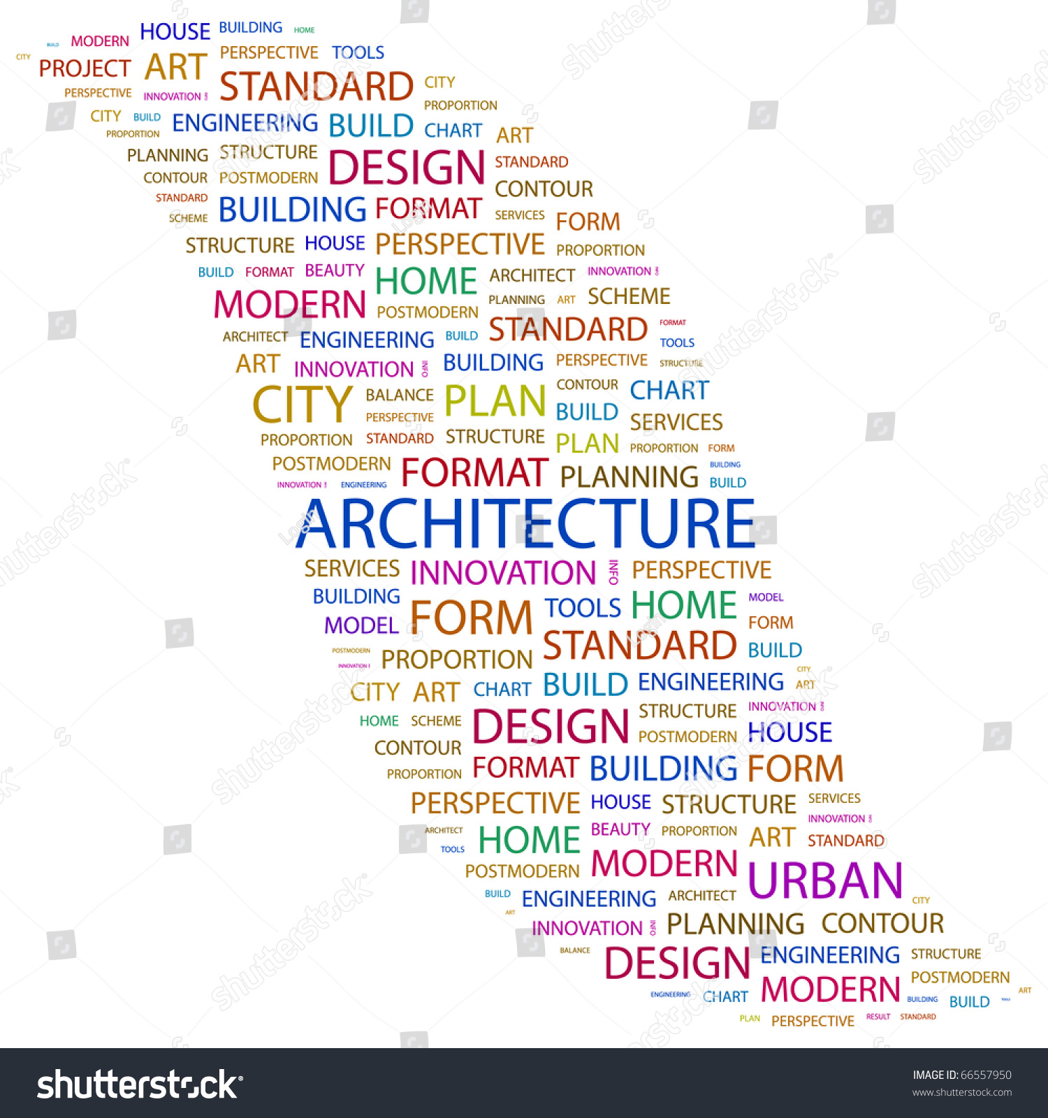 architecture word collage on white background stock vector 66557950
