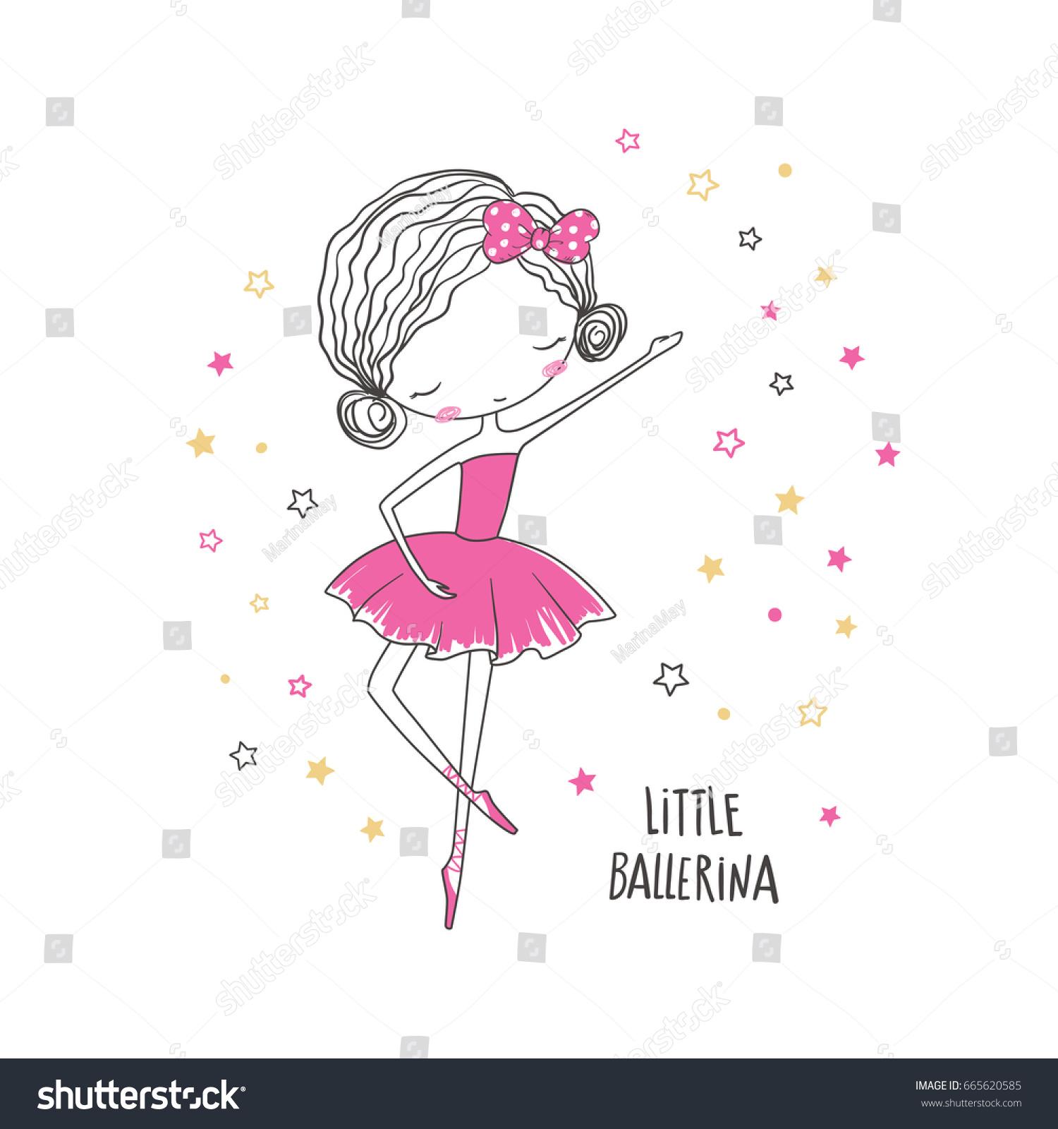 little ballerina tshirt graphic kids clothing stock vector