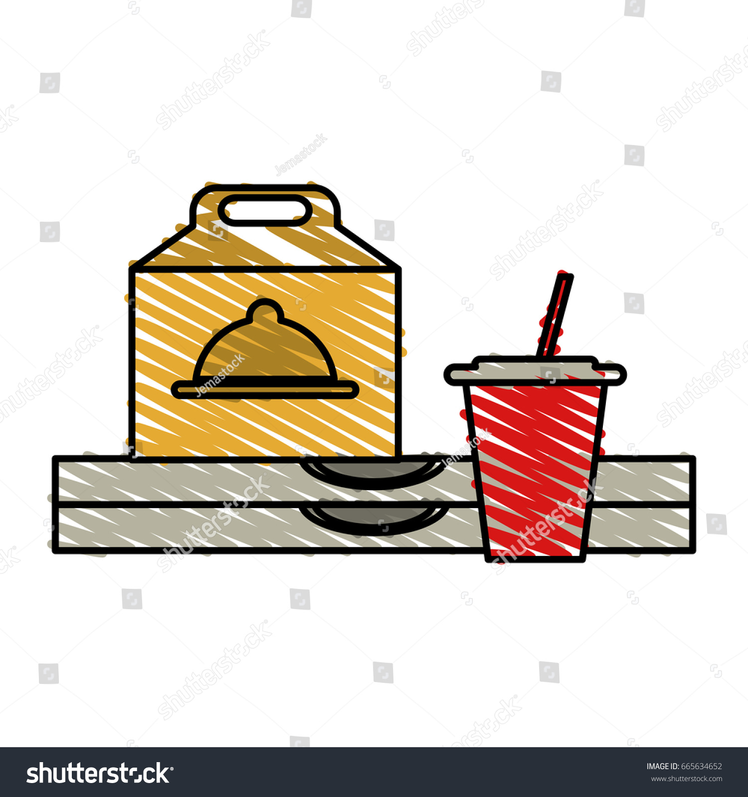 Pizza Domicile Fast Food Stock Vector (Royalty Free) 9