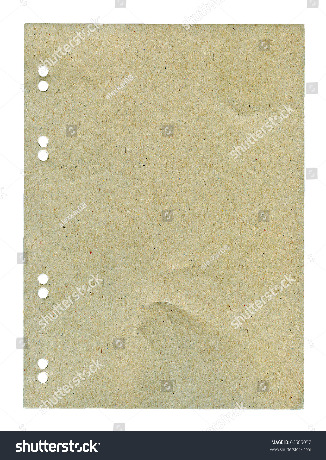 Textured grainy paper with natural fiber parts isolated #66565057