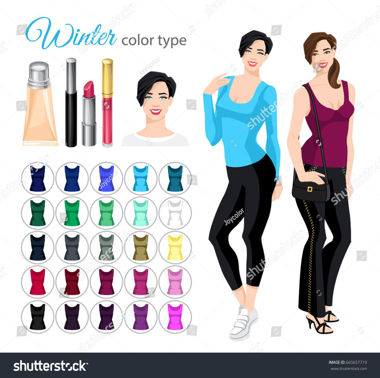 Vector Illustration Seasonal Color Palette Winter Stock ...