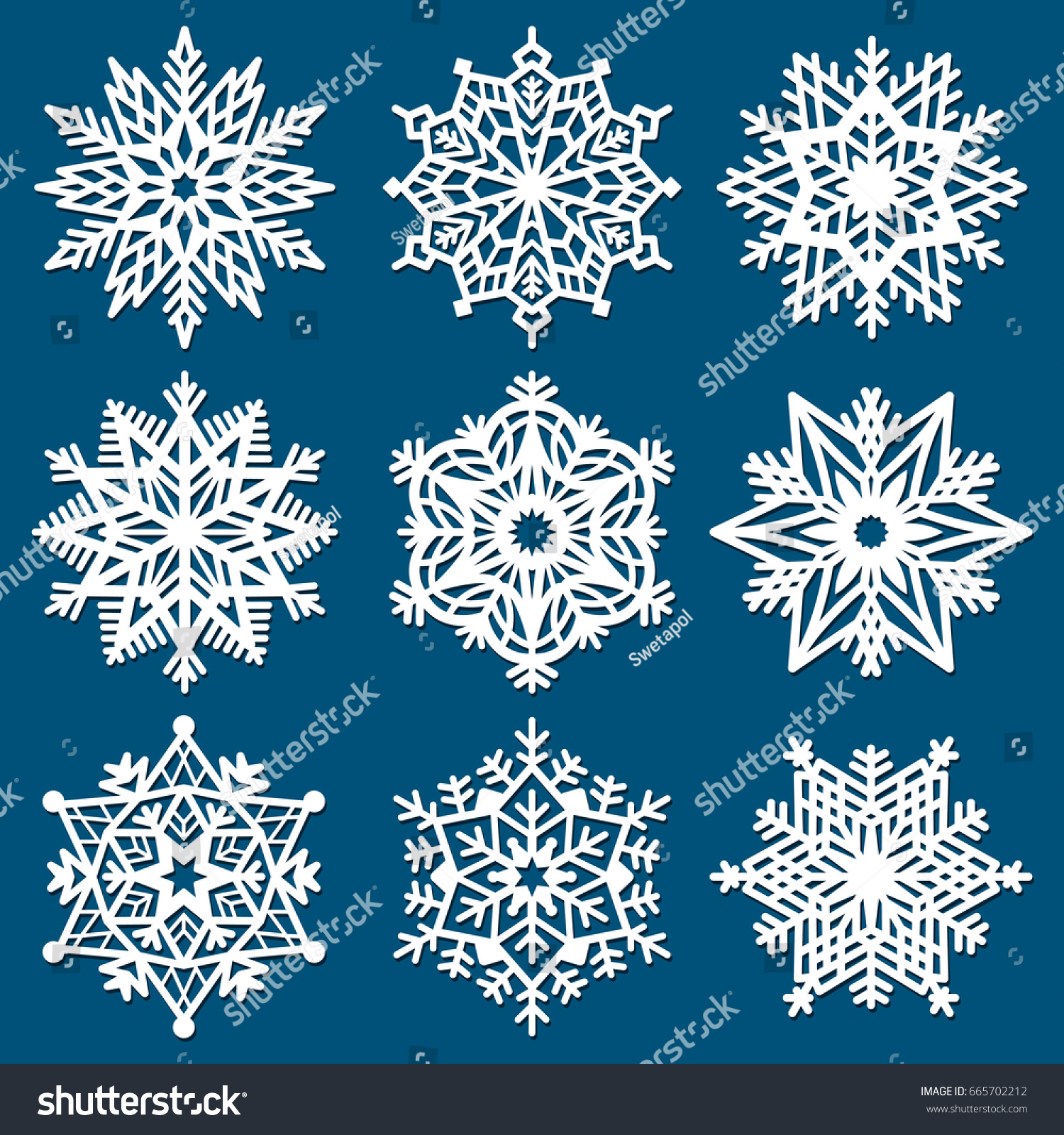 set snowflakes laser cutting template christmas stock vector