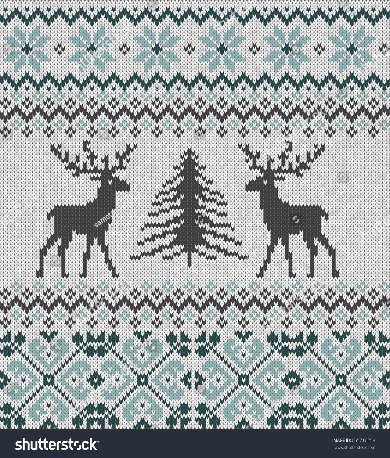 Scandinavian Winter Ornament Christmas Seamless Knitted Vector de ...