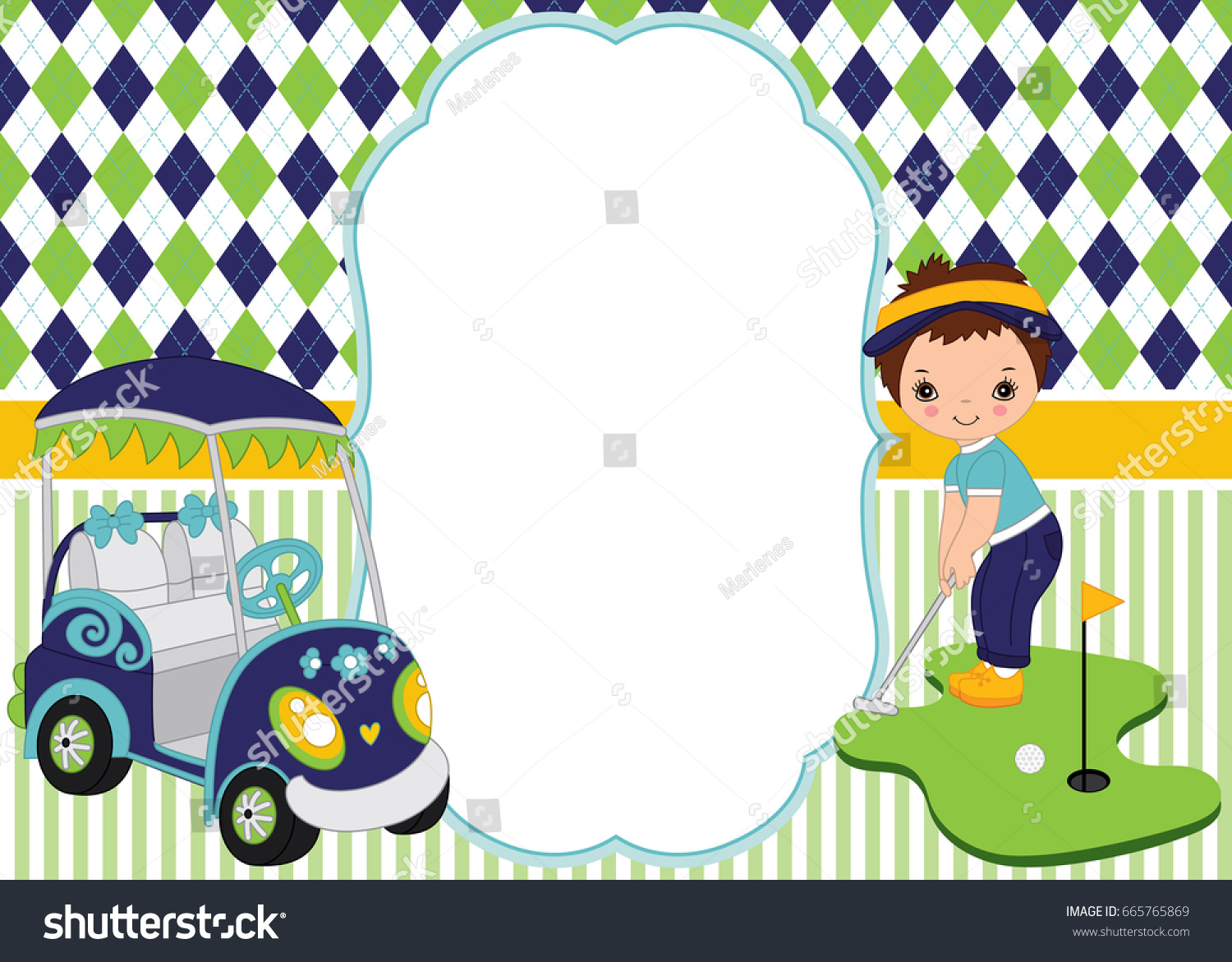 vector card template cute little boy stock vector (royalty free