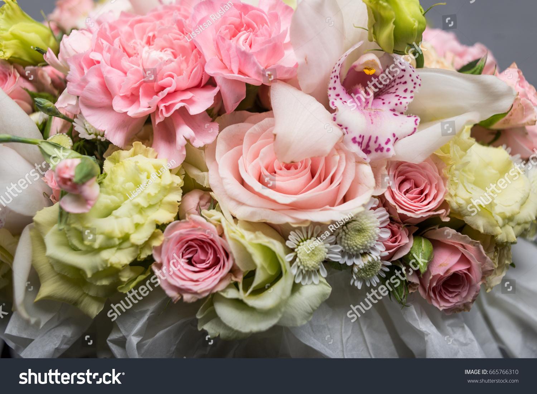 Beautiful Summer Bouquet Flowers Hat Box Stock Photo & Image ...