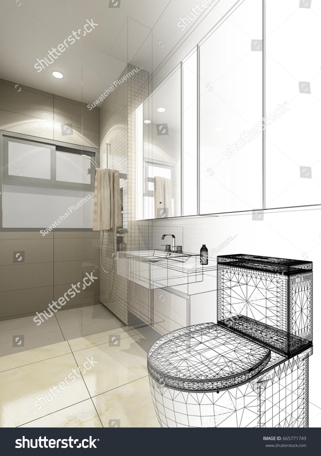 Abstract Sketch Design Interior Bathroom 3 D Stock Illustration ...