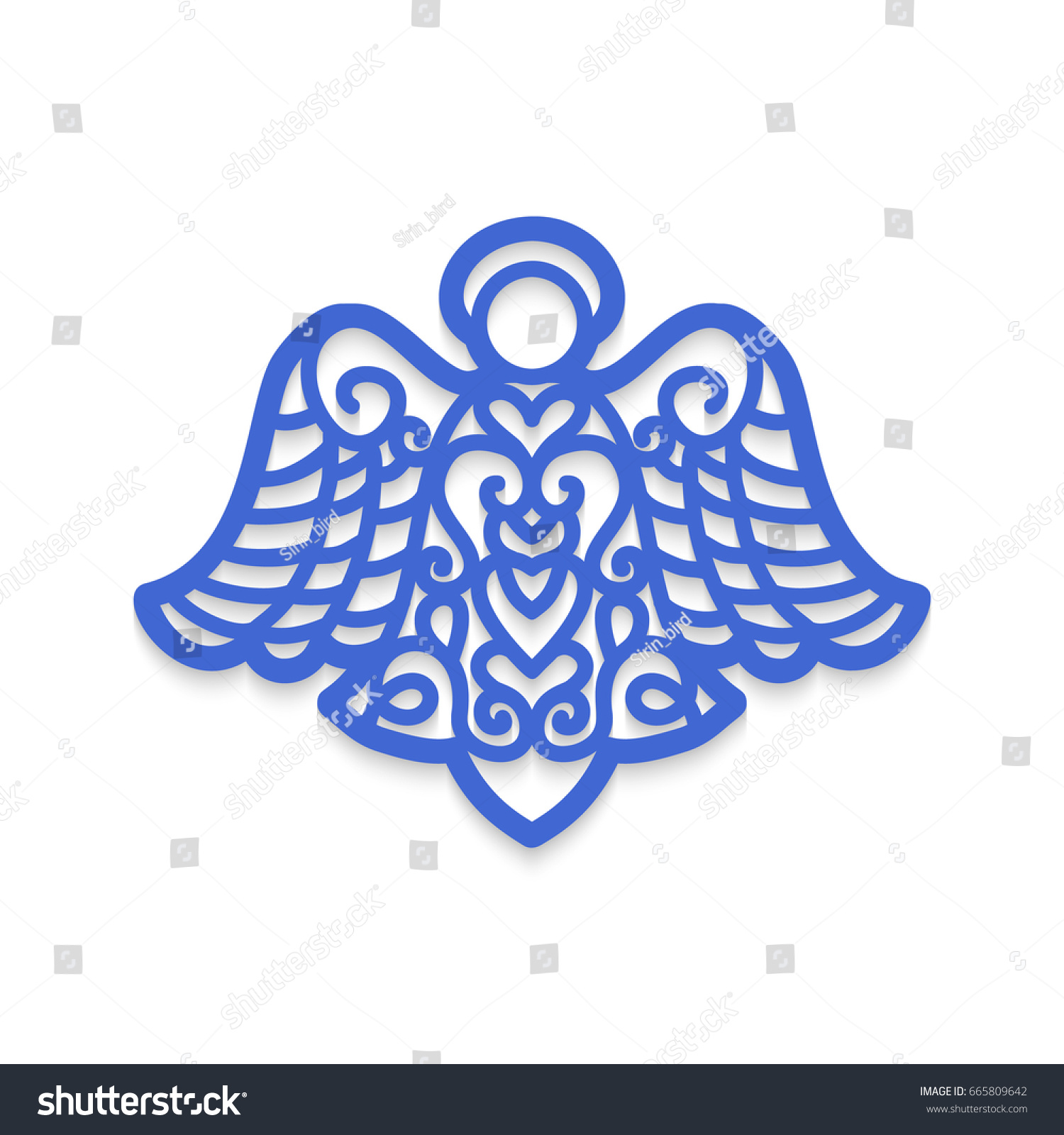 Angel laser cutting christmas tree decoration stock vector for Angel tree decoration template