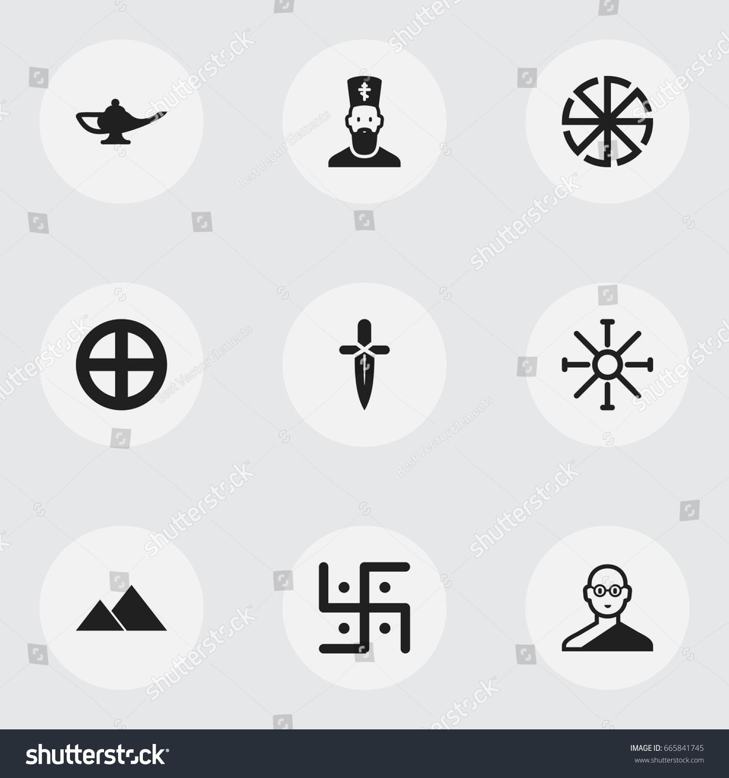 Set 9 Editable Faith Icons Includes Stock Vector Royalty Free