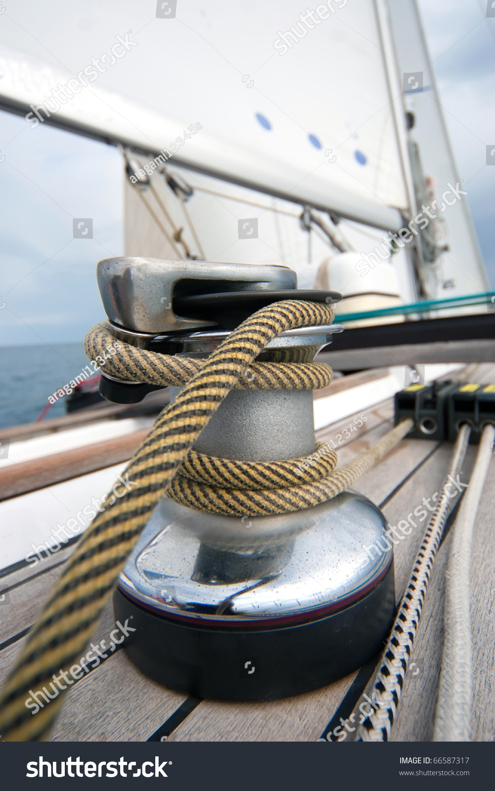 Winch With Rope On Sailing Boat In The Sea Stock Photo ...
