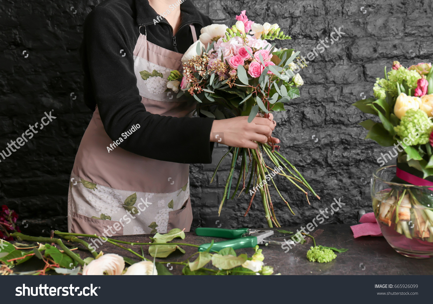 Female Florist Creating Beautiful Bouquet Flower Stock Photo (Safe ...