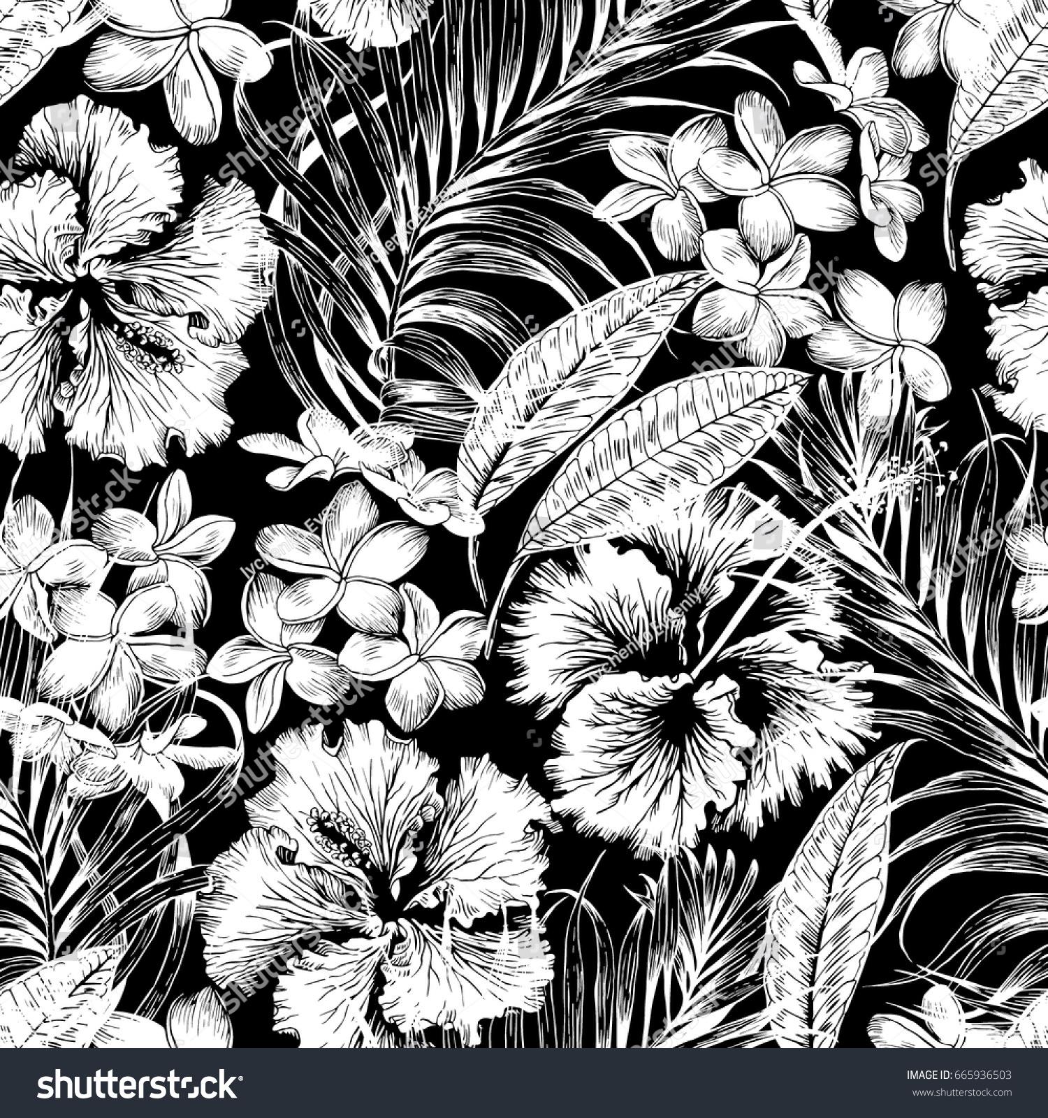 monochrome aloha hawaiian shirt seamless background stock