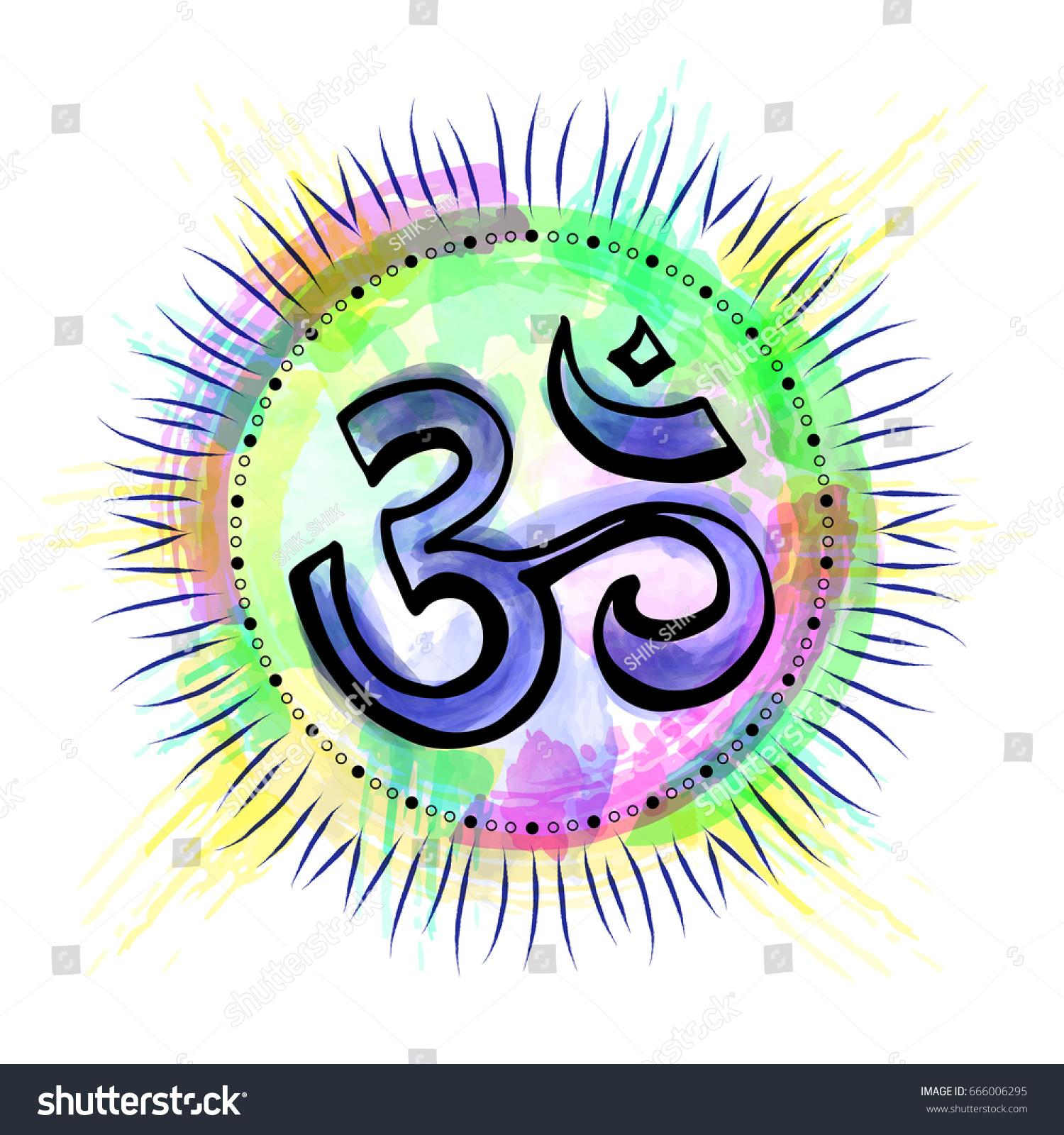 Om Aum Indian Sacred Sound Original Stock Vector 666006295