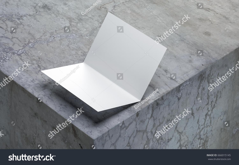 Opened Blank Greeting Card Mockup On Stock Illustration 666015145