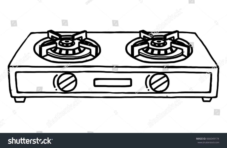 gas stoves cartoon vector illustration black stock vector