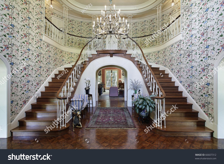 Luxury House Foyer : Large foyer luxury home double staircase stock photo