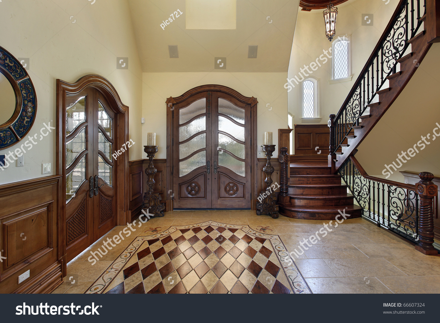 French Country Chandelier Foyer