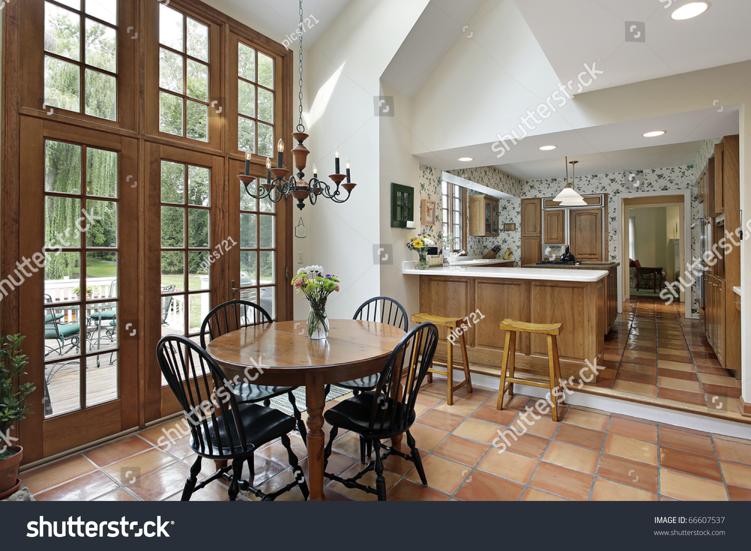 Kitchen Eating Area Kitchen And Eating Area With Spanish Tile Stock Photo 66607537