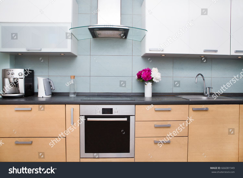 Idea of minimalist kitchen . Modern kitchen with an undermount sink ...
