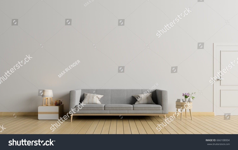 Empty Living Room Sofalamp Have White Stock Illustration 666108004