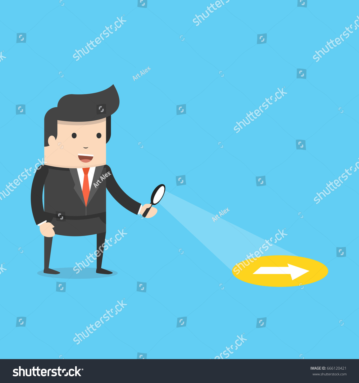 businessman searching through magnifying glass searching stock