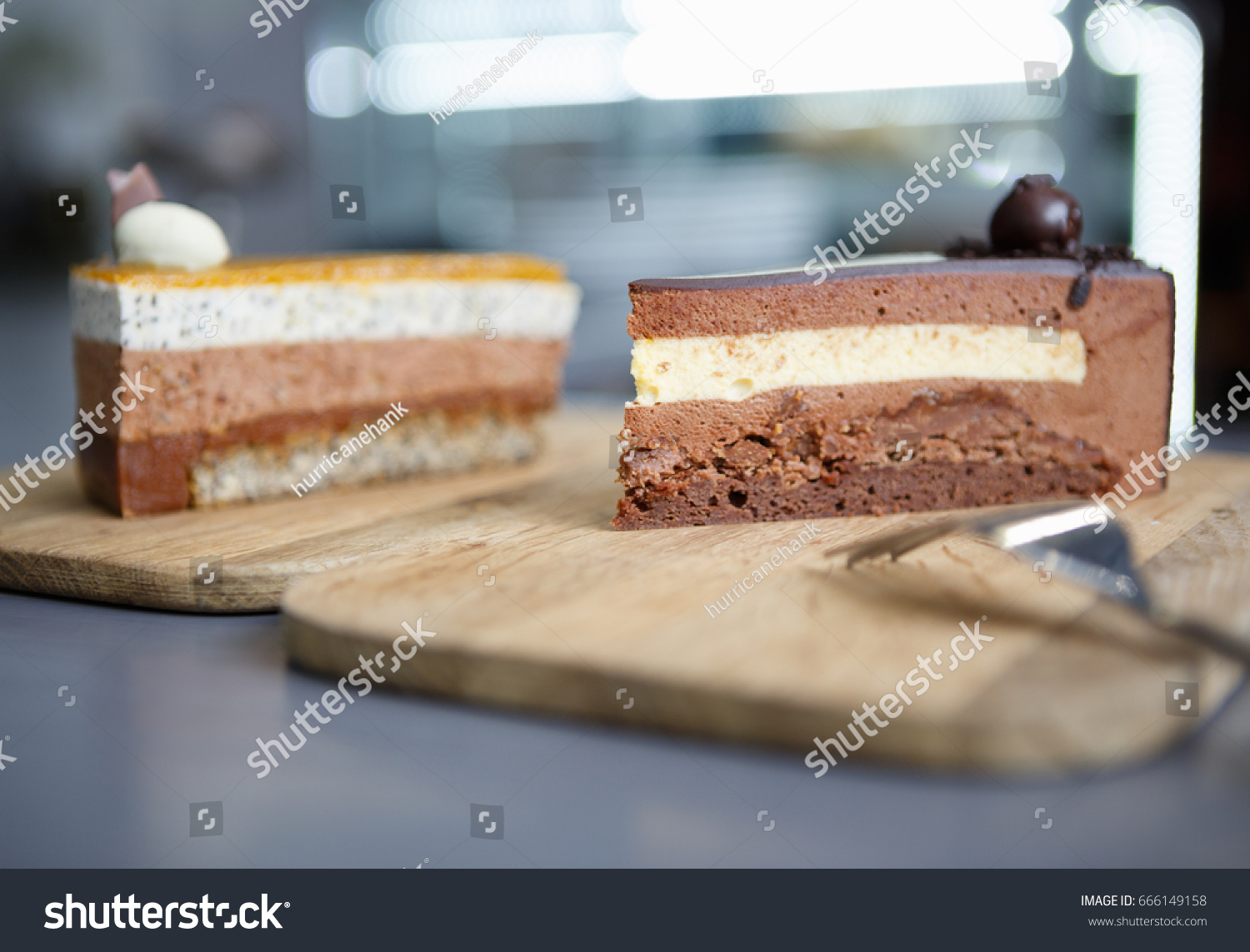Two fresh baked pieces of biscuit cakes served on wooden plate in Italian pastry cafe menu & Two Fresh Baked Pieces Biscuit Cakes Stock Photo (Edit Now ...