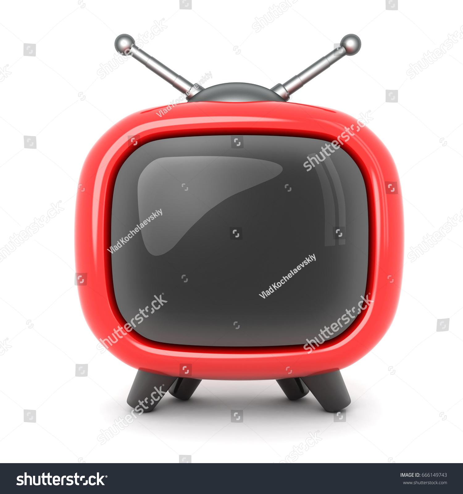 Red Tv Symbol On White Background Stock Illustration 666149743