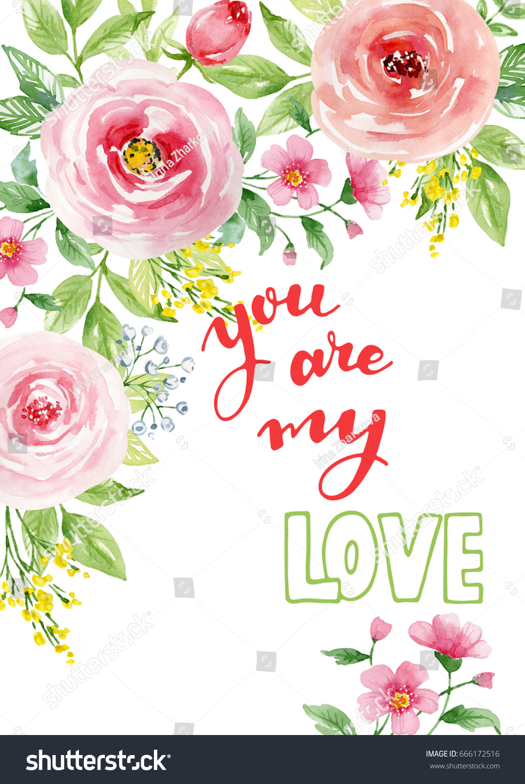 Watercolor Card Roses Floral Frame Lettering Stock Illustration Vintage Story Flower Shabby Rose 1 With And About Love You Are My