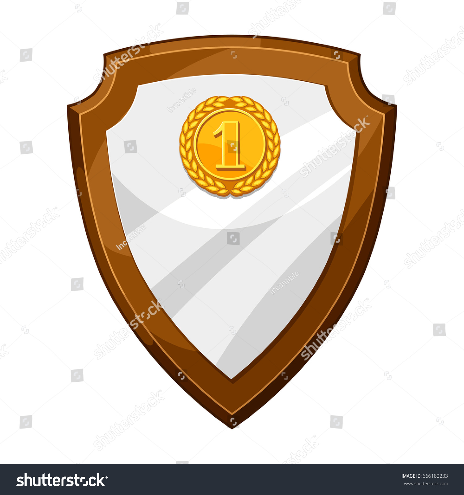Wood Plaque Award Board Gold Medal Stock-Vektorgrafik (Lizenzfrei ...