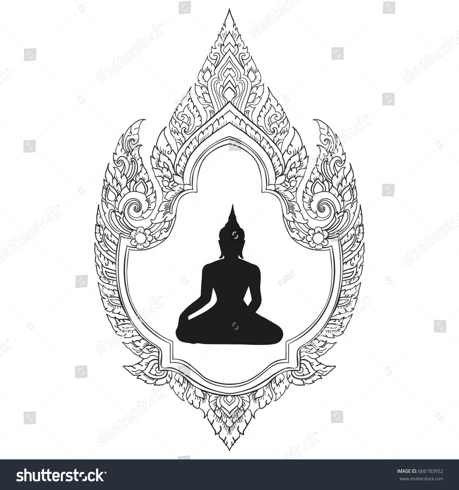 Thai Traditional Ornament Buddha Silhouette White Stock Vector
