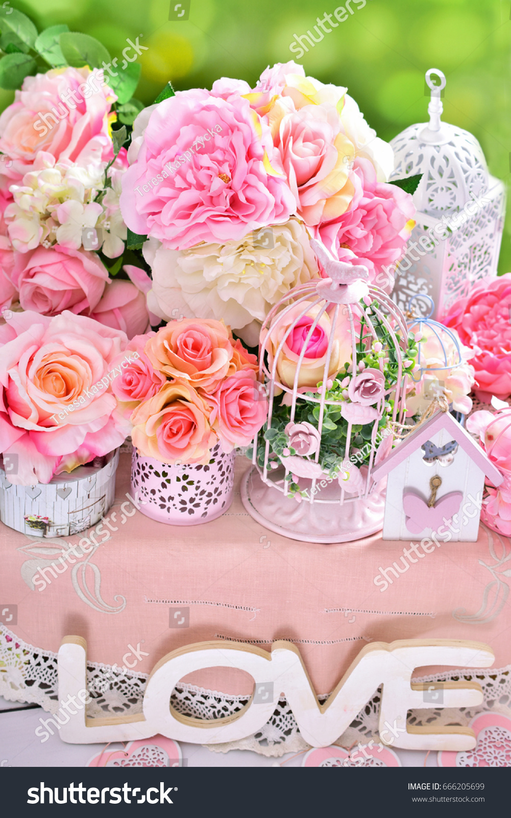 Beautiful Romantic Flower Decoration Shabby Chic Stock Photo Edit