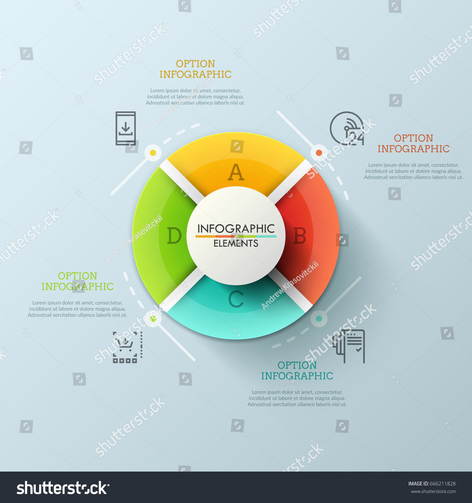 Circular pie chart divided into 4 stock vector 666211828 circular pie chart divided into 4 equal lettered sectors concept of round website menu with nvjuhfo Images