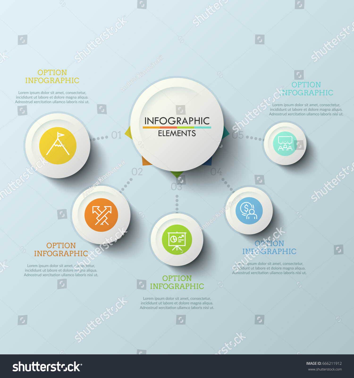 Flow chart central round element connected stock vector 666211912 flow chart central round element connected with 5 numbered options by dotted lines five geenschuldenfo Gallery