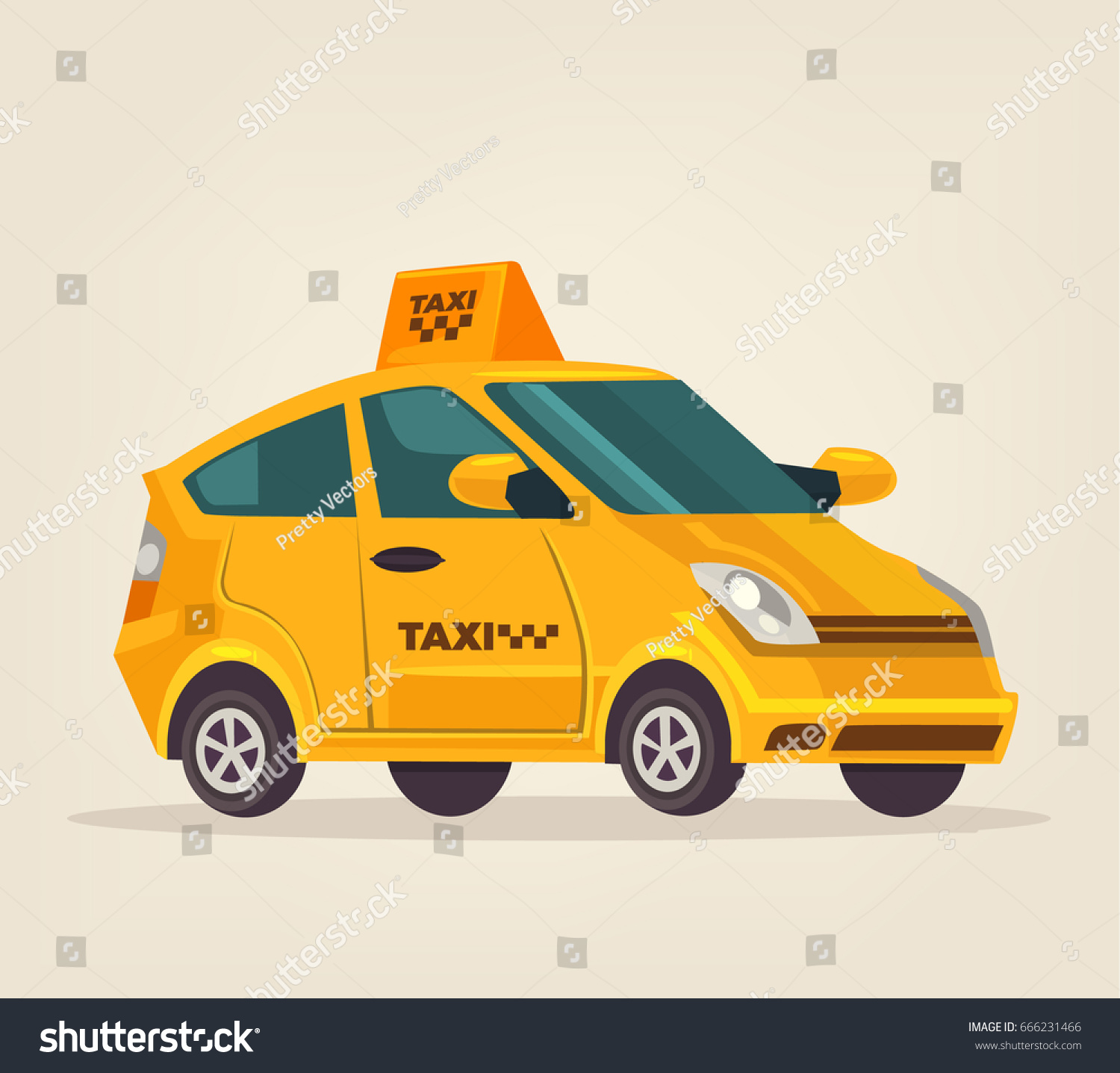 Yellow Isolated Taxi Cab Car Icon Stock Vector 666231466