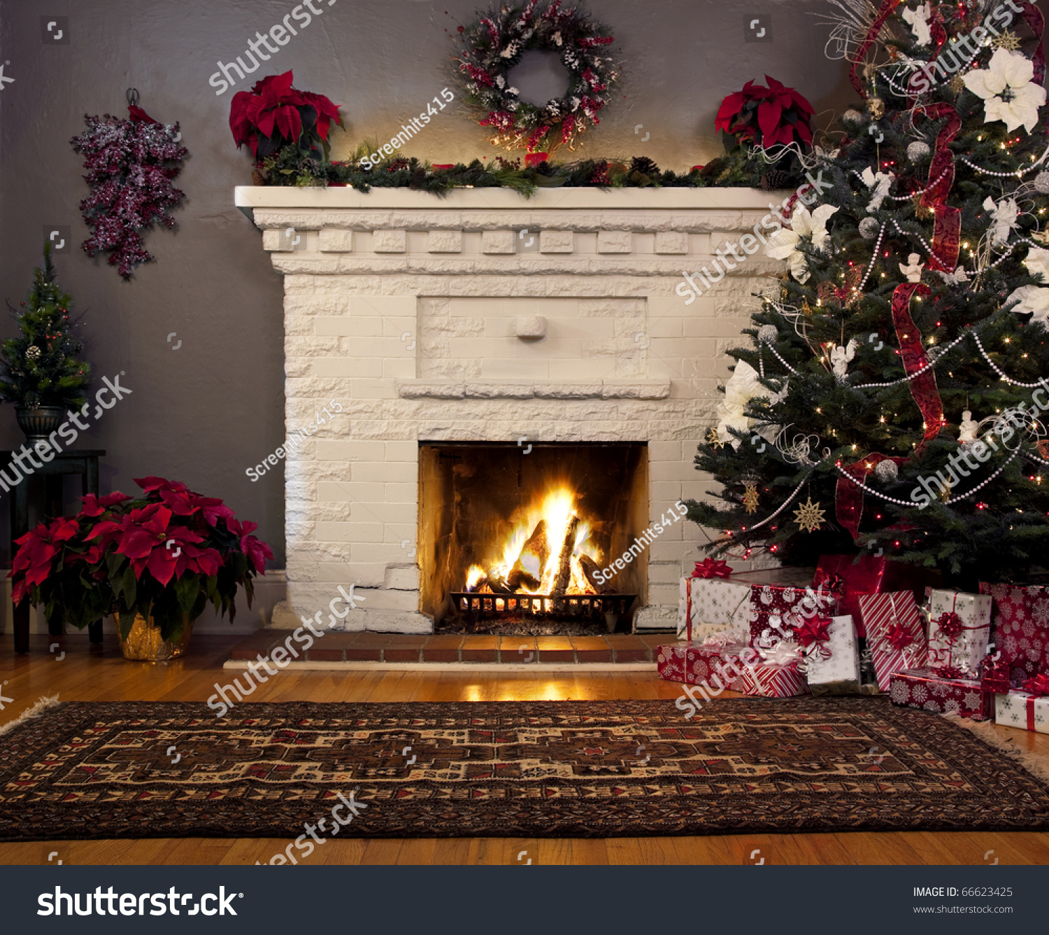 Christmas Tree And Fireplace Background Stock Photo