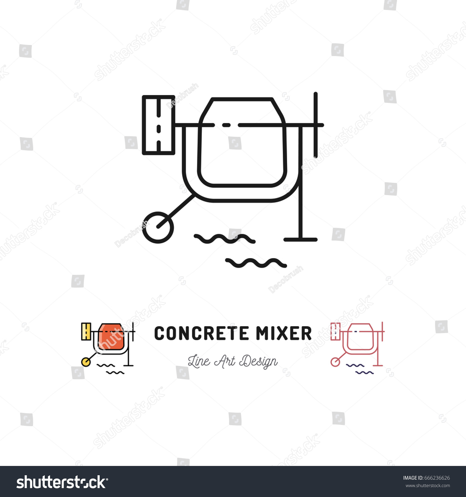 stock vector concrete mixer icon cement mixer sign vector thin line art symbol 666236626 concrete mixer icon cement mixer sign stock vector 666236626