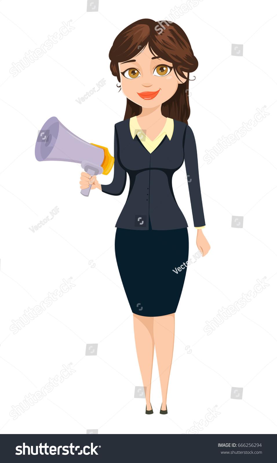 Businesswoman Standing Speaker Business Woman Cartoon Stock
