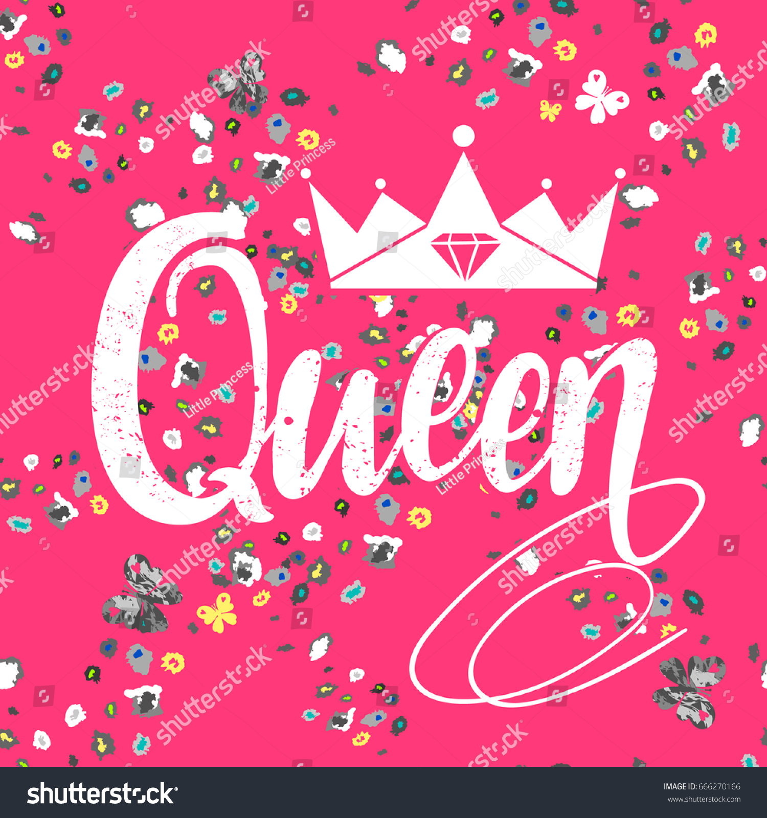 t shirt design on pink background with floral motives pattern and word queen crown