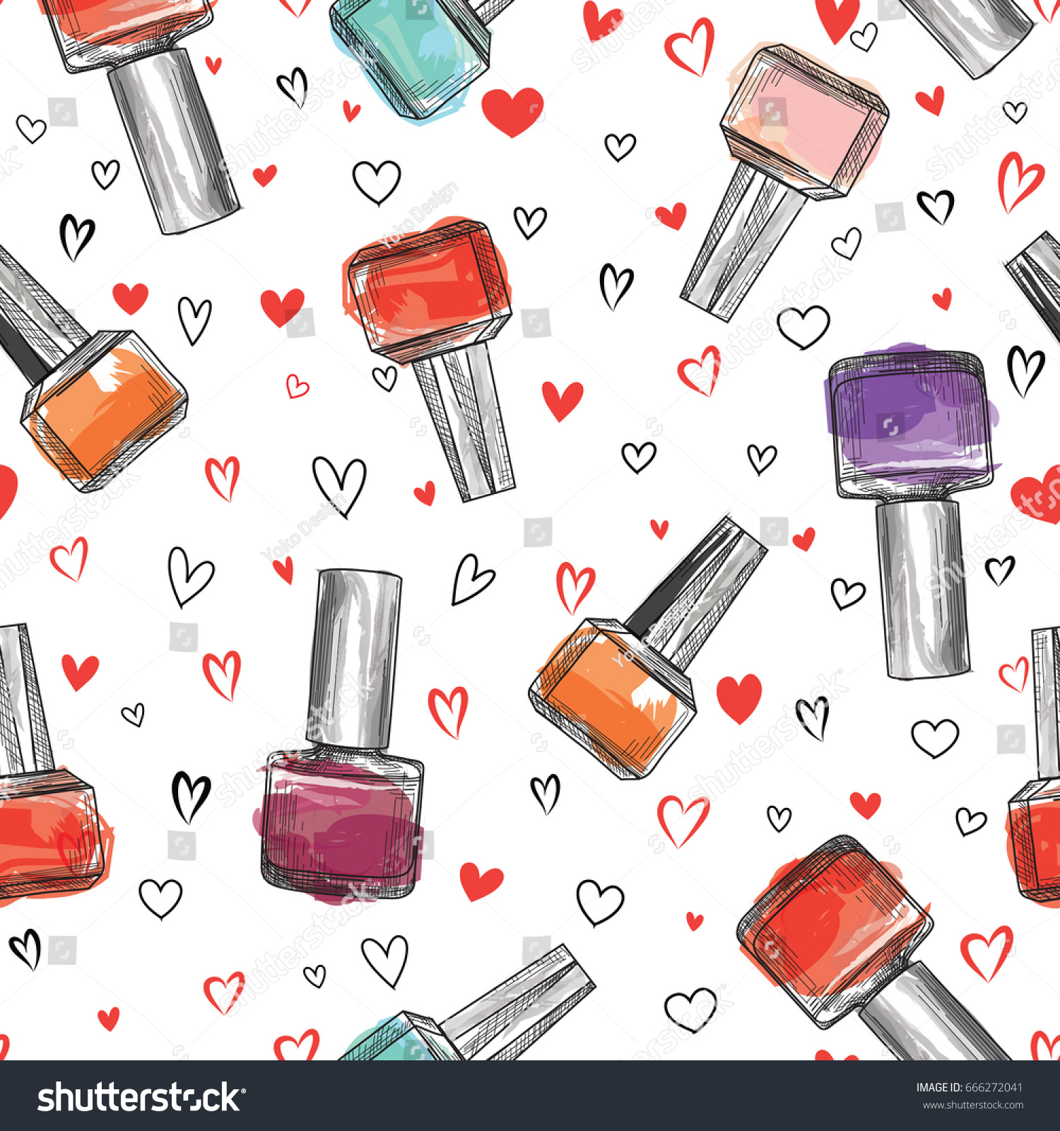 Beauty Salon Seamless Pattern Nail Polish Stock Vector 666272041 ...