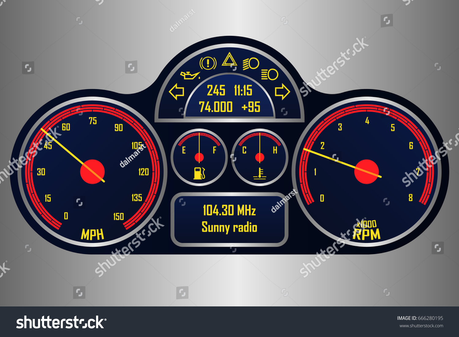 Automotive Gauge Cluster Vector Illustration Racing Stock Vector - Car signs on dashboardcar dashboard signs speedometer tachometer fuel and temperature