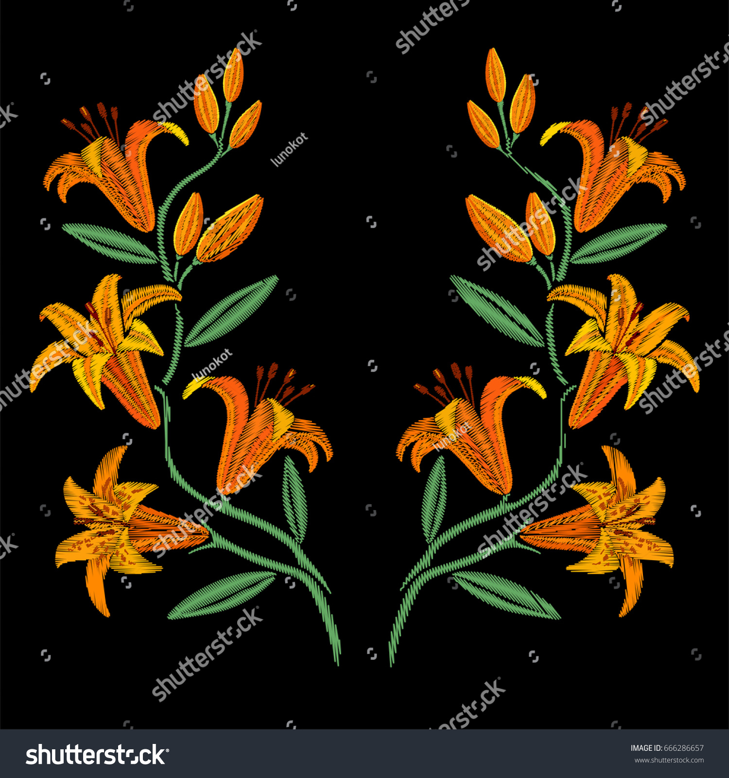 Embroidery symmetrical yellow lily flowers stock vector 666286657 embroidery symmetrical yellow lily flowers izmirmasajfo
