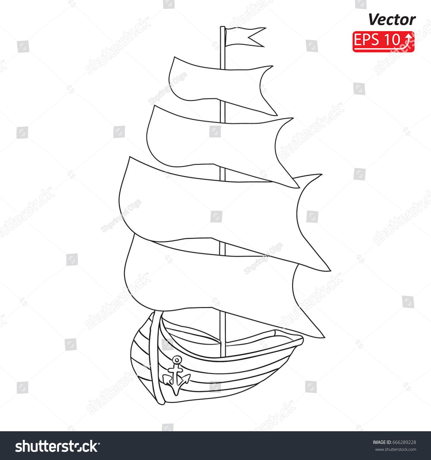 Sailing ship boat contour drawing sketch stock vector 666289228 sailing ship boat contour drawing sketch silhouette sailboat isolated on white background pooptronica Choice Image