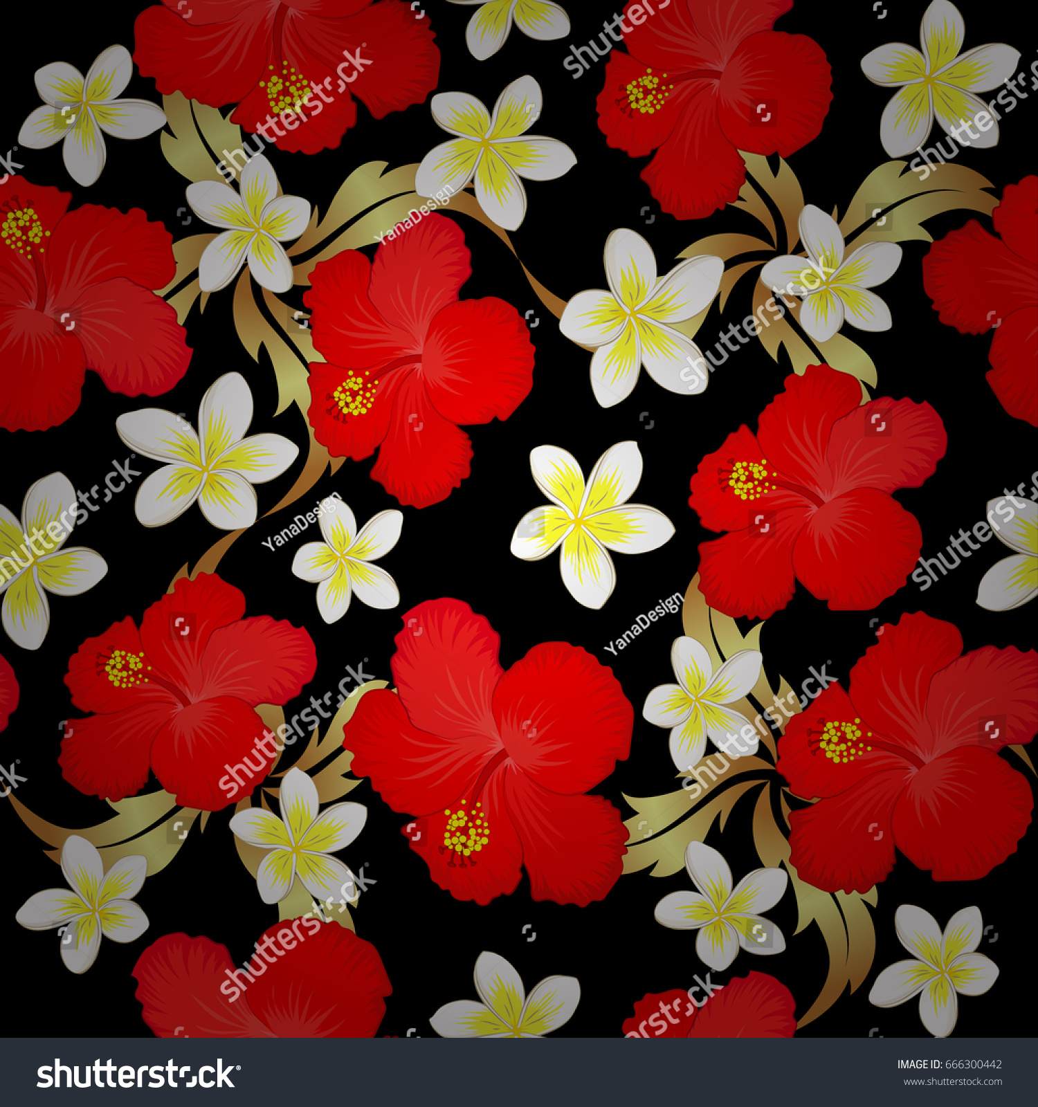 Bright Painting Inspired Hibiscus Flower Print Stock Vector